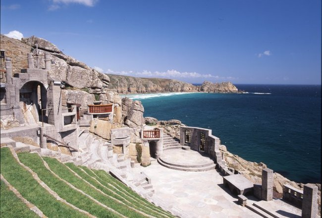 The stage and the seating, an amphitheatre carved into the cliffs on the coastline at Minack.