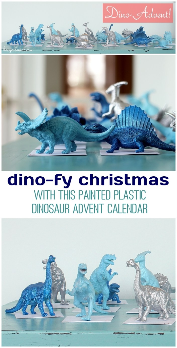 Spray paint dinosaurs for a whimsical Advent calendar