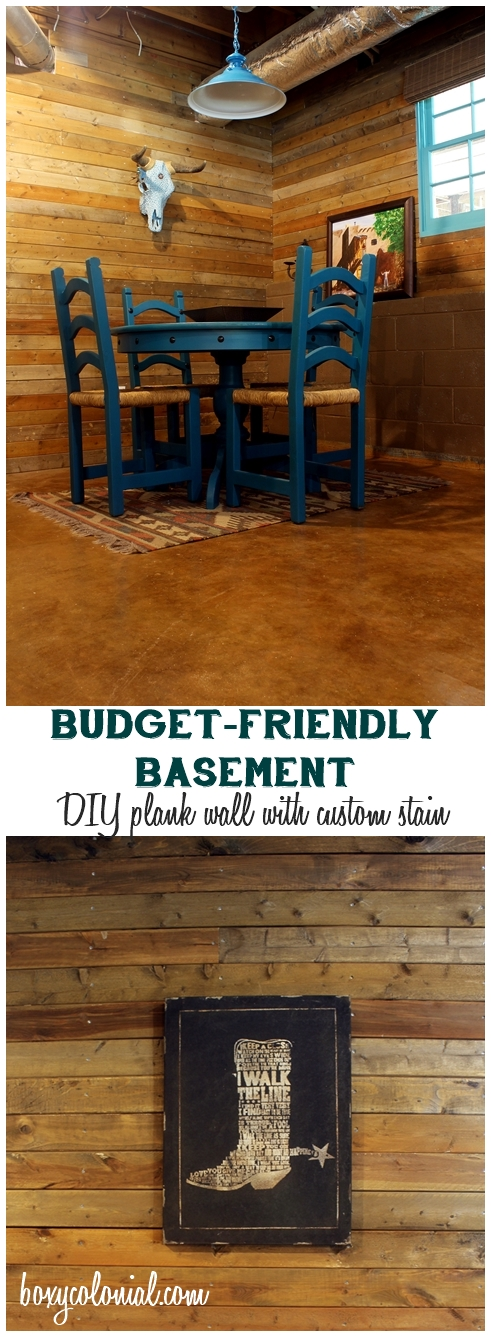 Budget-friendly basement hang out room w/ lots of DIY Projects like this plank wall