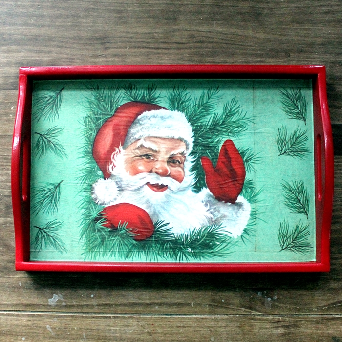 thrift store tray made over for Christmas