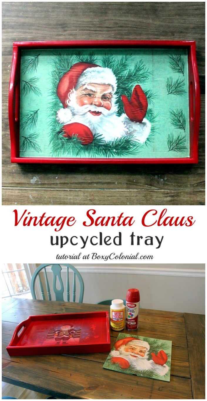 Upcycled thrift store tray made over with vintage Santa gift wrap and spray paint
