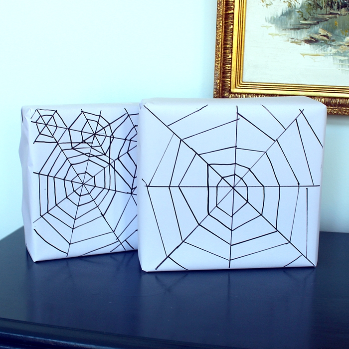DIY Spider Web Wrapping Paper