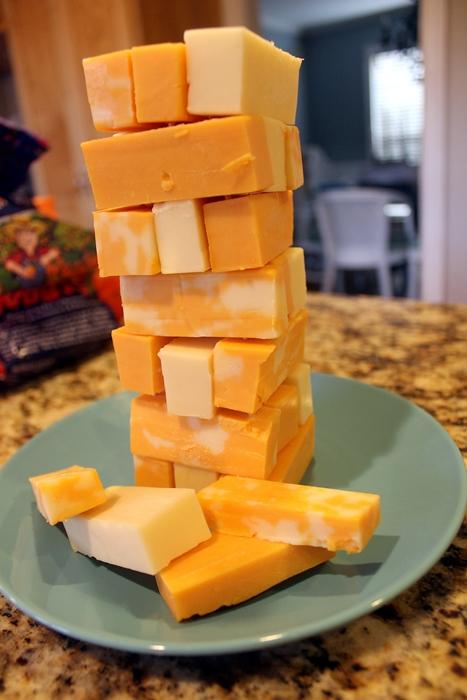 Jenga cheese tower