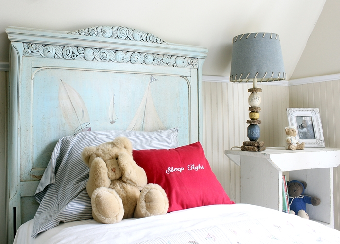 kids' sailboat bed and nautical bedding