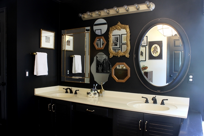 mirror gallery wall in bathroom