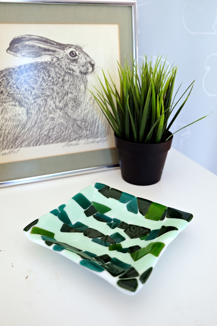 green glass mosaic dish