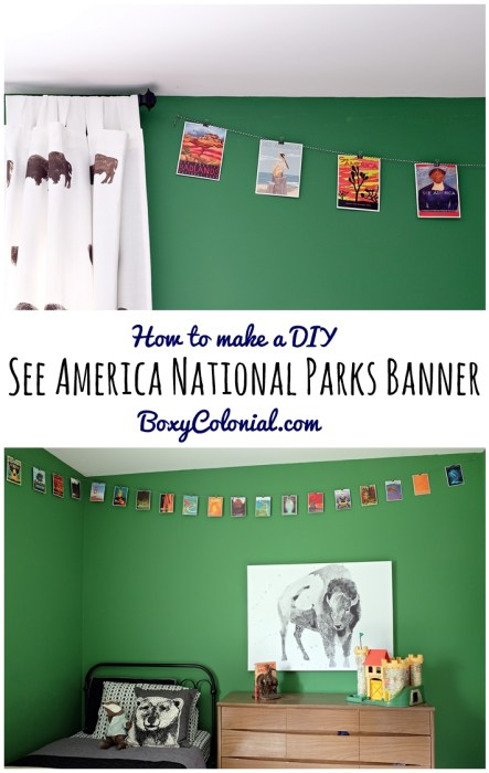 How to make your own DIY See America Project banner for a National Parks themed kid room