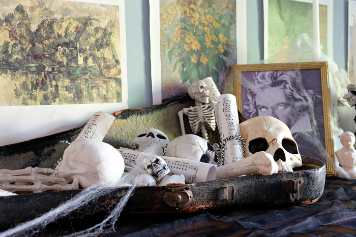 decomposing composers halloween: old violin case filled with bones