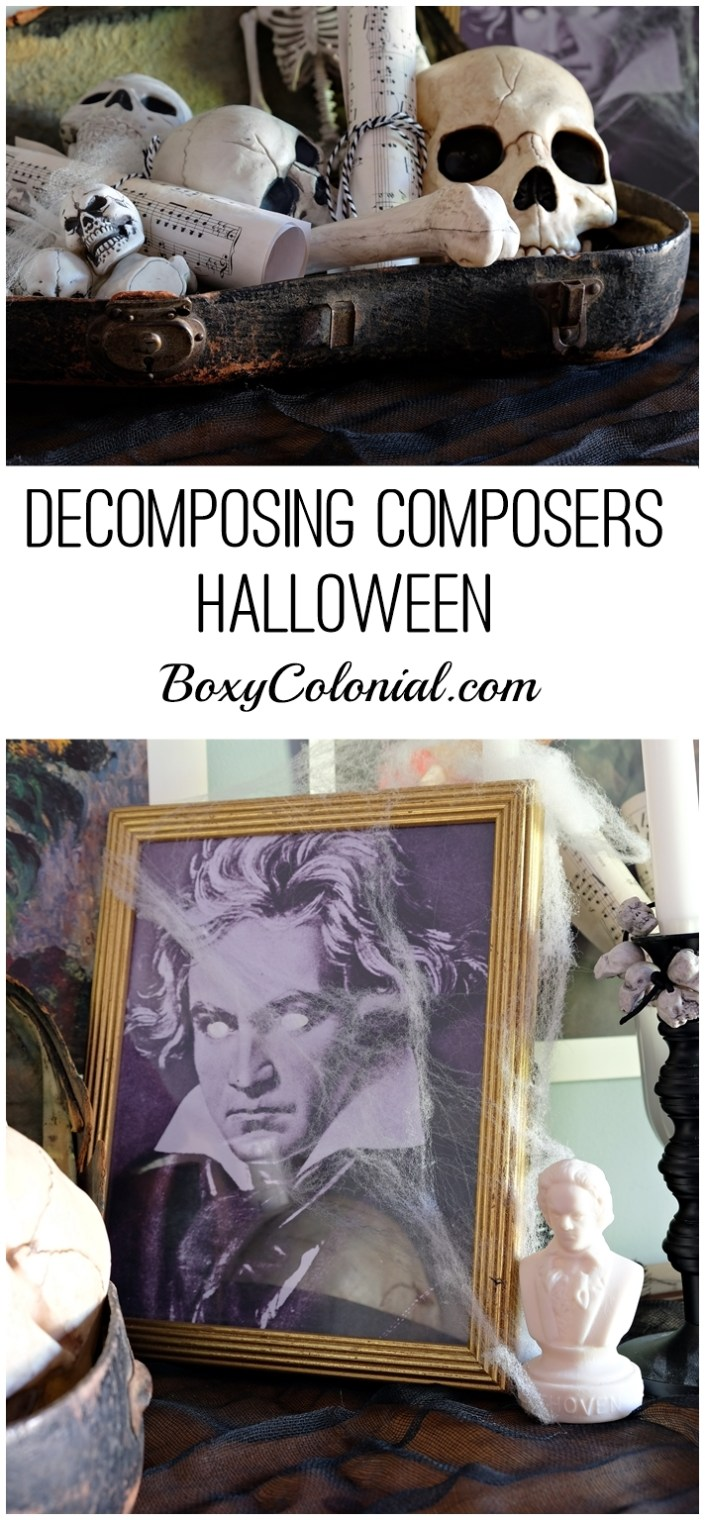 Put together a decomposing composers, spooky musically themed Halloween display