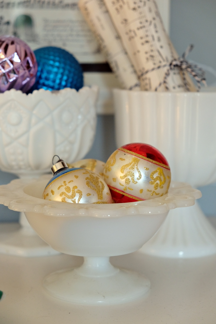 vintage ornaments in milk glass