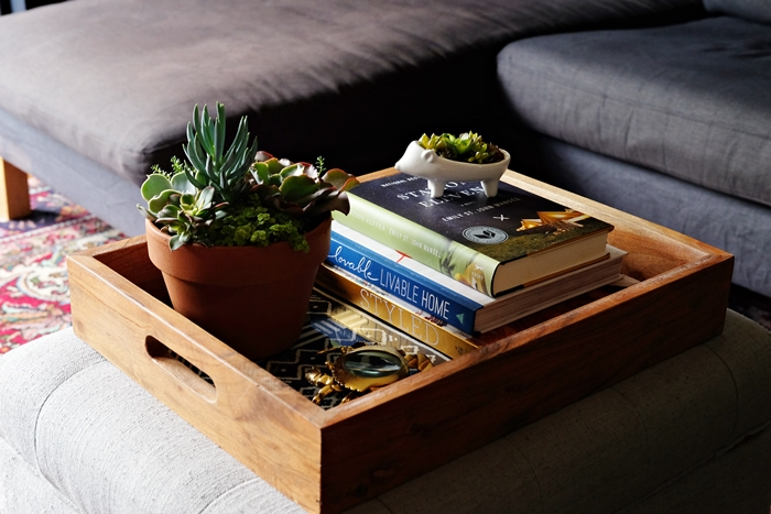 Boxy Colonial Spring Home Tour: tray with succulents
