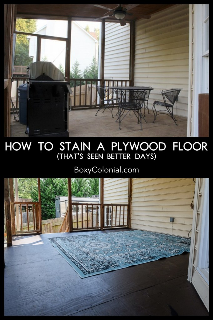 how to stain a plywood floor that's seen better days #diy #porch #stain #plywoodfloor