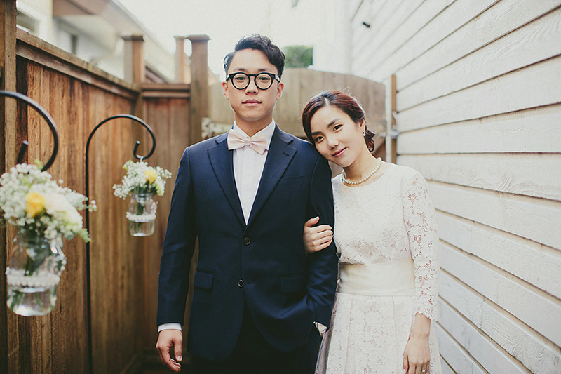 backyard wedding bride and groom portrait
