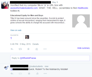 Fun twitter feminist searches and finds AVFMS blacked out