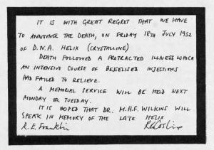 Rosalind Franklin notice announcing death of helix