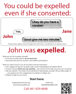 Flyer - due process - you can be expelled if she consented