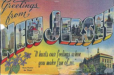 Greetings from New Jersey post card with It hurts our feelings when you make fun of us written on it