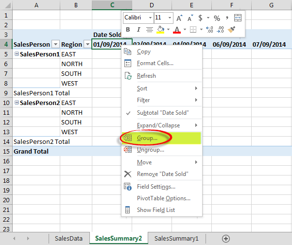Excel Pivot Tables  Grouping Data by Date and Time