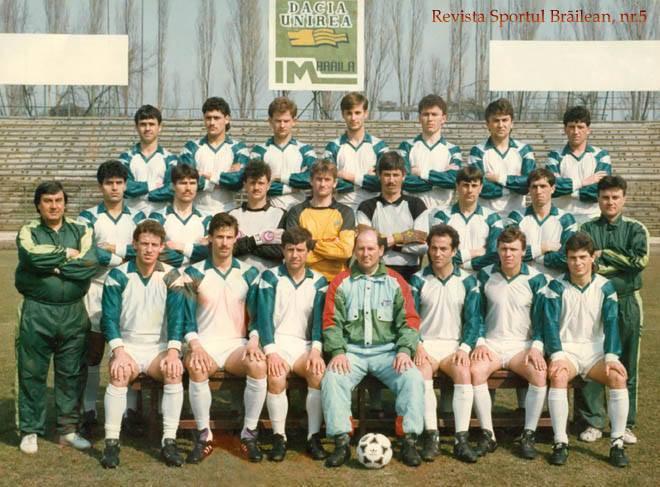 Dacia Unirea Braila liga 1 sezonul 1992 – 93 antrenor Ioan Srobis secunzi Ionel Iuga si Octavian ...