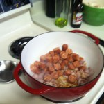 Add chorizo to pan with bacon.  Fry until browned.