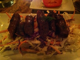 Grilled Merguez with creamy goats cheese slaw