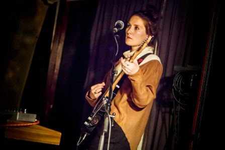 Cate Le Bon performing with H Hawkline at the Heavenly Recordings Party, Branchage 2014
