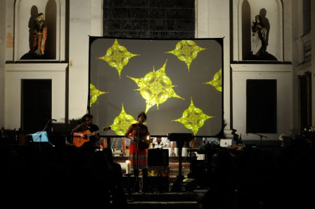Molly Carroll on stage at Shoreditch Church, opening for Icelandic band amiina in 2009