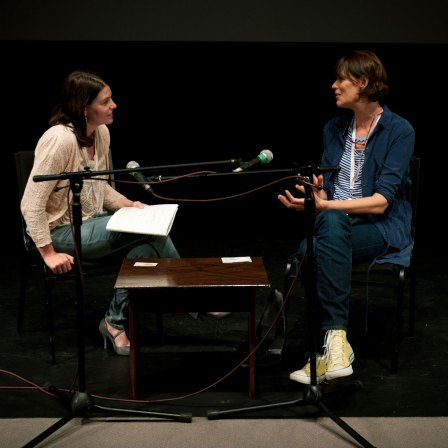 Clio Barnard on stage for a Q&A following a screening of The Arbor at Jersey Arts Centre, Branchage 2011
