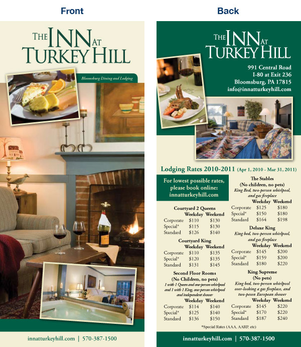 Rack Cards for the Inn at Turkey HIll
