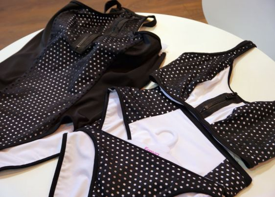 Freya Swim Sports Luxe Underwired High Neck Suit and Non Padded Crop Top in Monochrome (Freya Swim AW16)