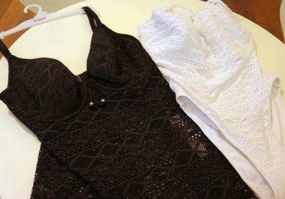 Freya Swim Sundance Padded Tankini in Black, High Neck Cutout Suit in White (Freya Swim AW16)