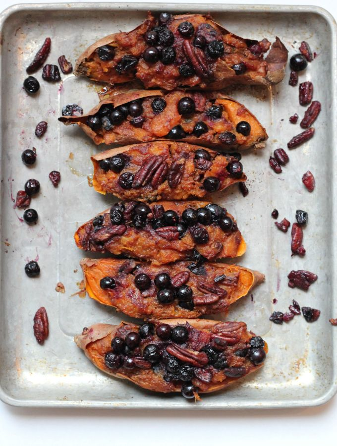 twice baked sweet potatoes with blueberries and pecans