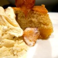 Peach Cake & Blueberry Compote
