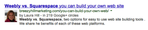 The result of google authorship