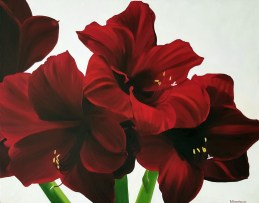 """""""Crimson Depths"""" Brenda Stonehouse 24"""" x 30"""" oil on canvas. Available for purchase."""