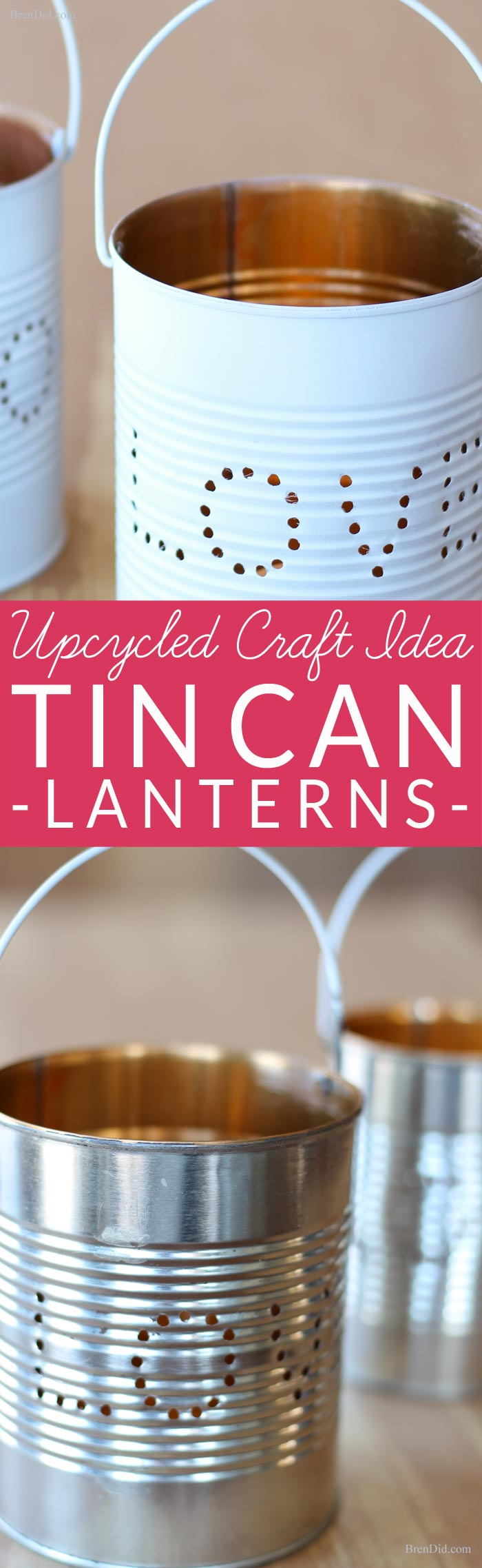 Upcycled Craft Ideas for Valentines Day. Learn how to make an adorable tin lantern from an upcycled tin can! These easy DIY lanterns are made from just two recycled craft supplies: a tin can and a wire coat hanger. Perfect for rustic wedding, Valentines Day or a romantic décor. The Art Of Up-Cycling: repurposed tin cans to lanterns.