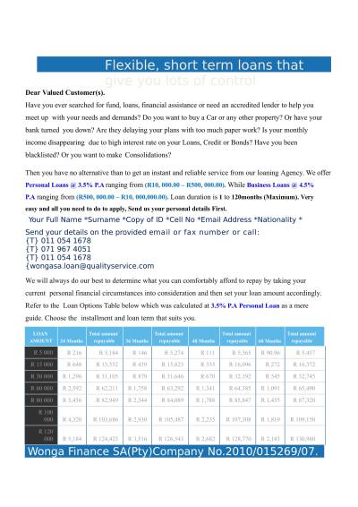 WONGA LOAN OFFER Wonga Personal Loans View The Attachment File – Brendinghat