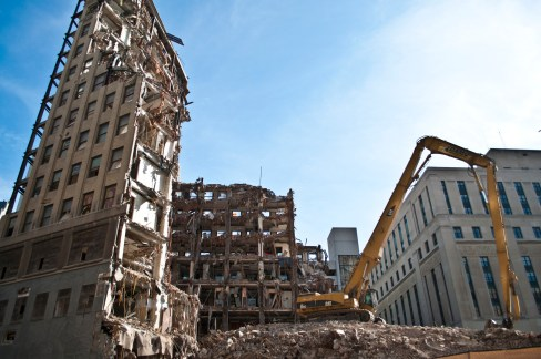 Deconstruction - The tearing down of the Lafayette Building. PHOTO CREDIT: John Cruz, misplacedfocus.com