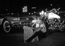 Miss Harley Davidson Gina Galligan lost on a rooftop in Deep Ellum.