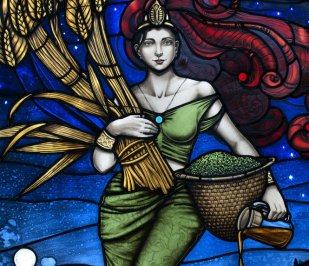 Stain glass image featuring Ninkasi designed by ArtGlass and featured at Founders Brewing