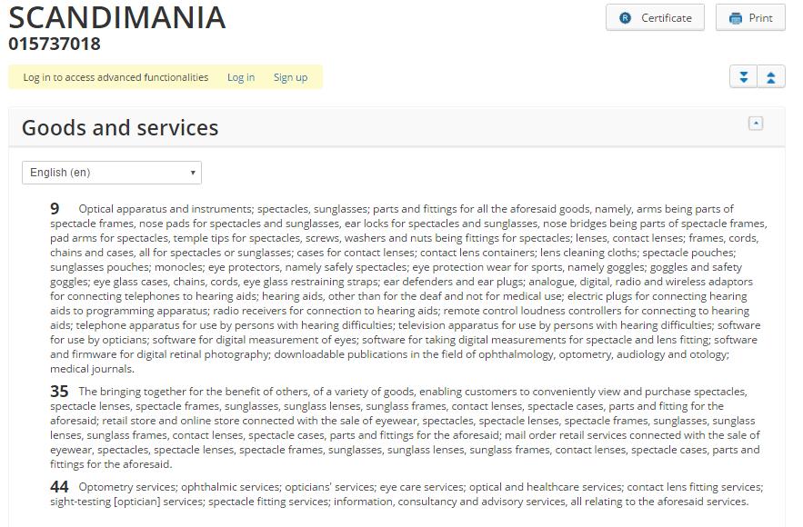 specsavers scandimania trademark