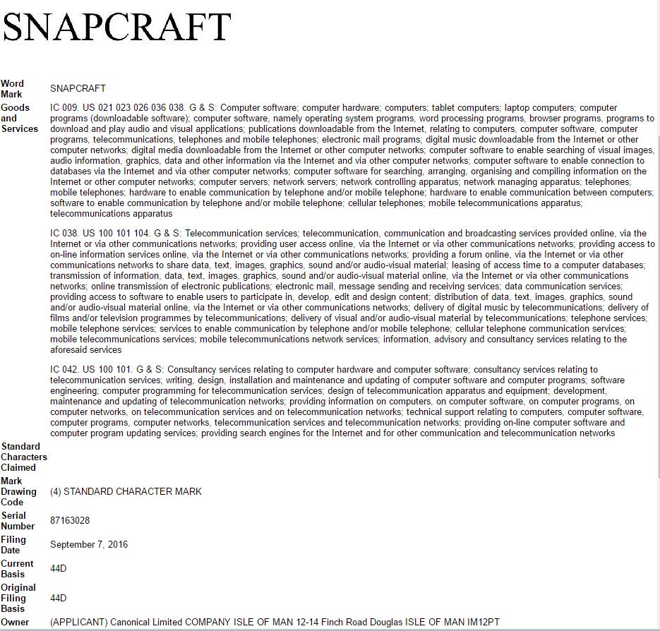 snapcraft trademark application