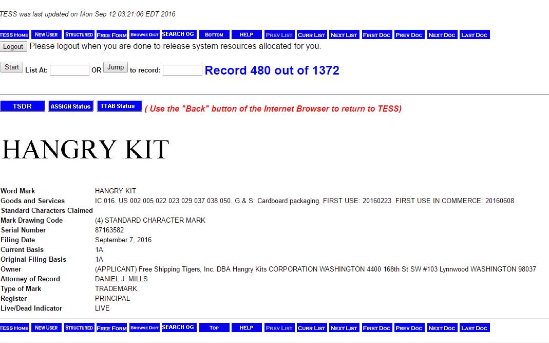 Hangry Kit Trademark Application