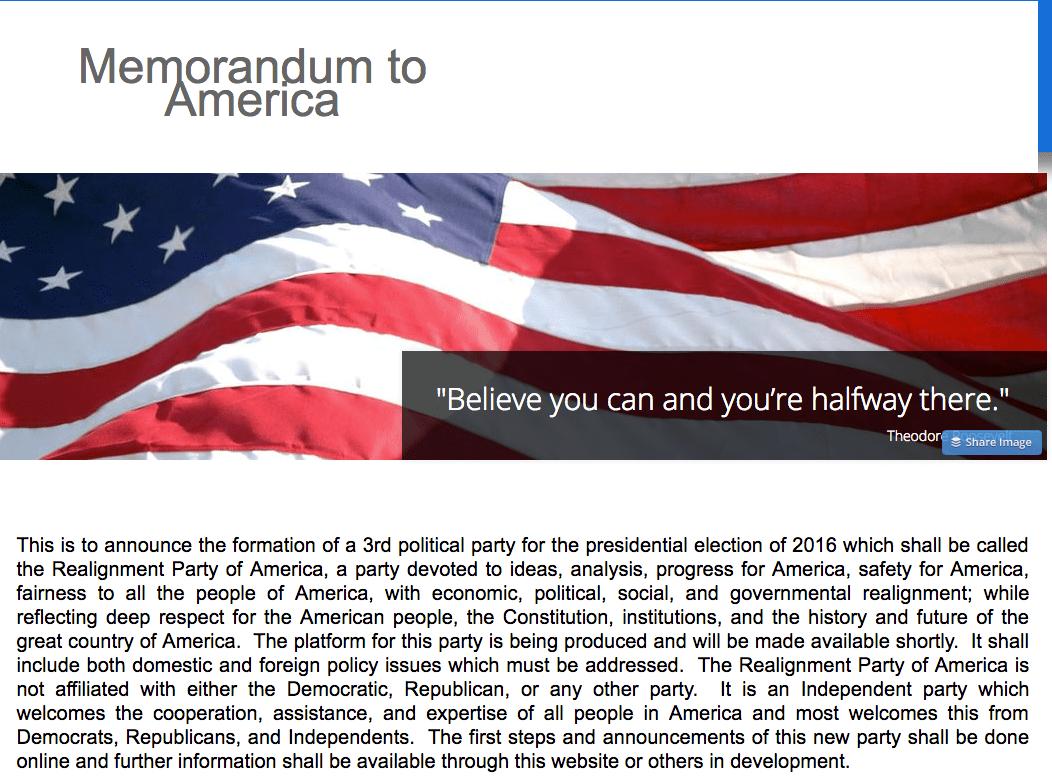 memorandum to america