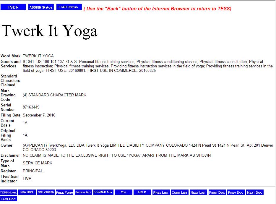 Twerk It Yoga trademark application