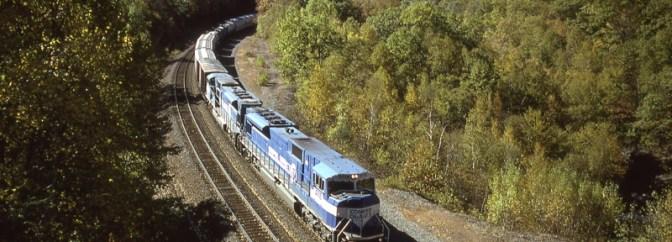 Conrail SD80MACs on the Boston & Albany, October 11, 1996.