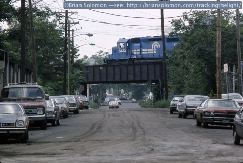 Conrail on Lehigh Valley at Newark NJ 206pm Aug 1 1986 Mod-1 Brian Solomon 662698