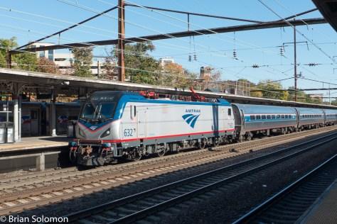 Amtrak ACS64 number 632 leads a Keystone train destined fro Harrisburg, PA.