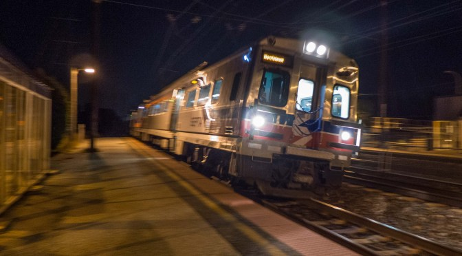SEPTA in the gloom of evening at Claymont, Delaware—October 15, 2015.