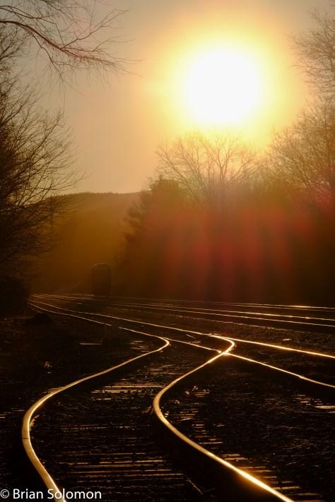 Boston & Albany sunrise, Tennyville, Palmer, Massachusetts, December 2015. FujiFilm X-T1 digital photo.